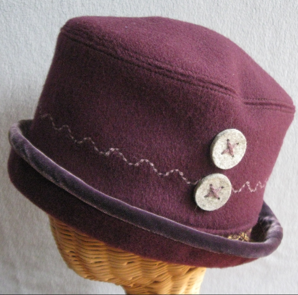 84. Plum Wool and Velvet Cloche. small $72.